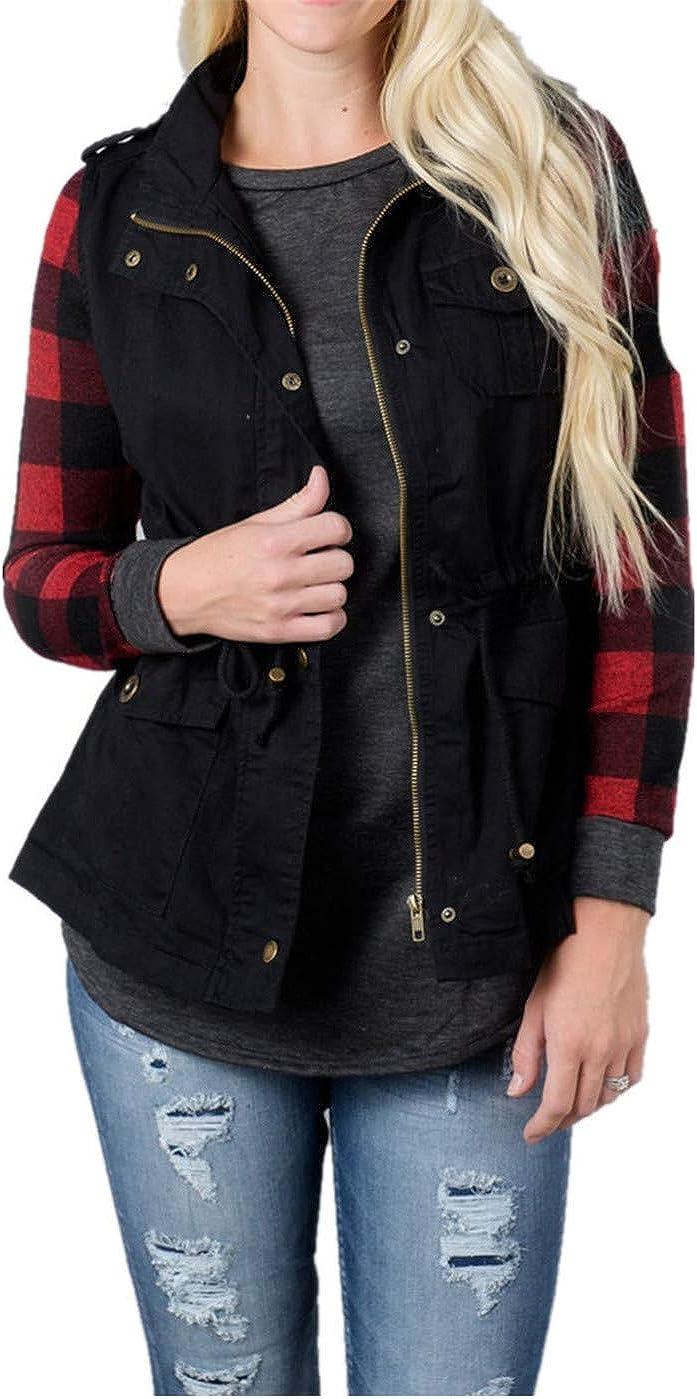 LUOYL Women's Military Sleeveless Jacket Lightweight Drawstring