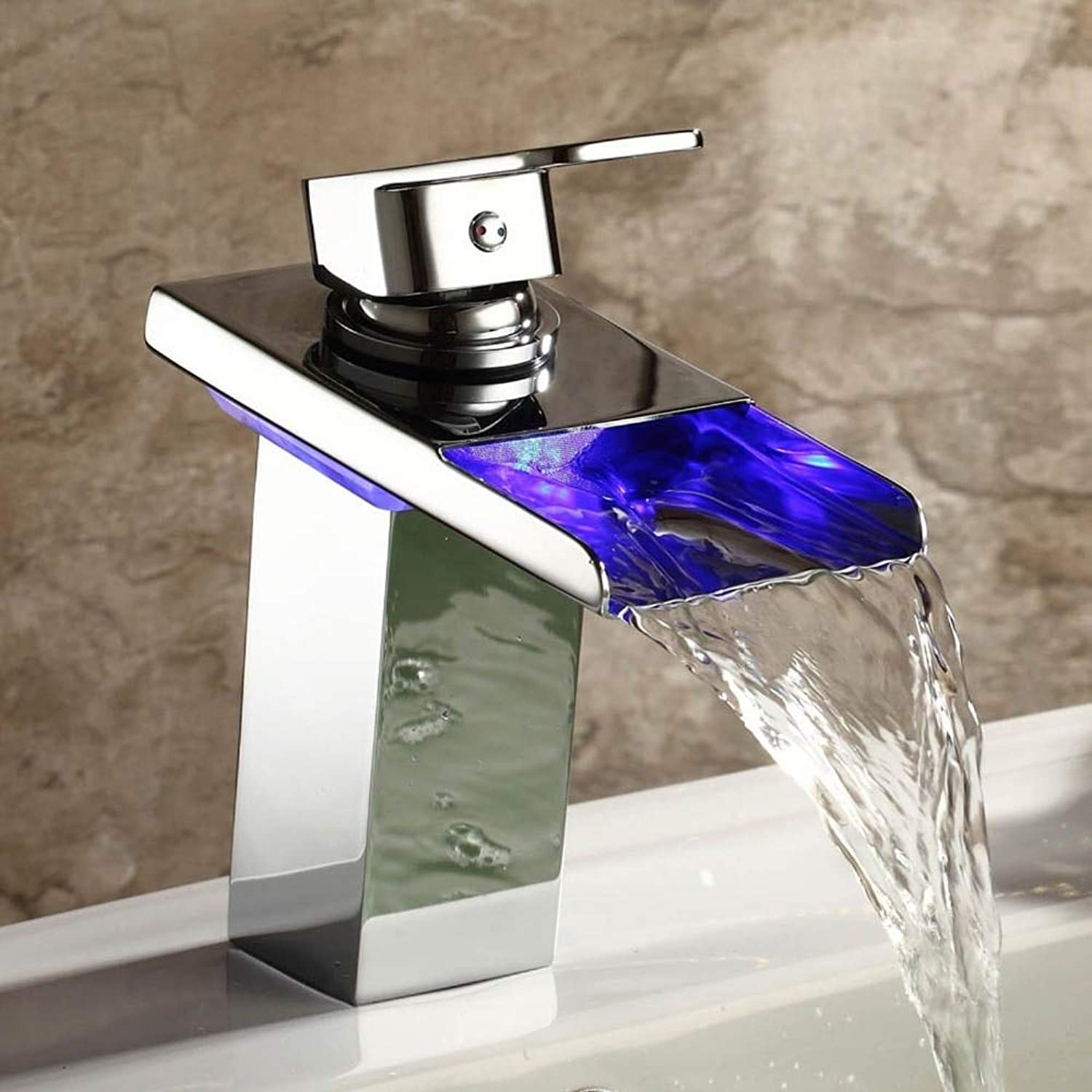 Brand Grifo Robinet krano Contemporary Solid Brass Single Handle Widespread Waterfall Bathroom Sink Led Faucets Chrome New-,Chrome