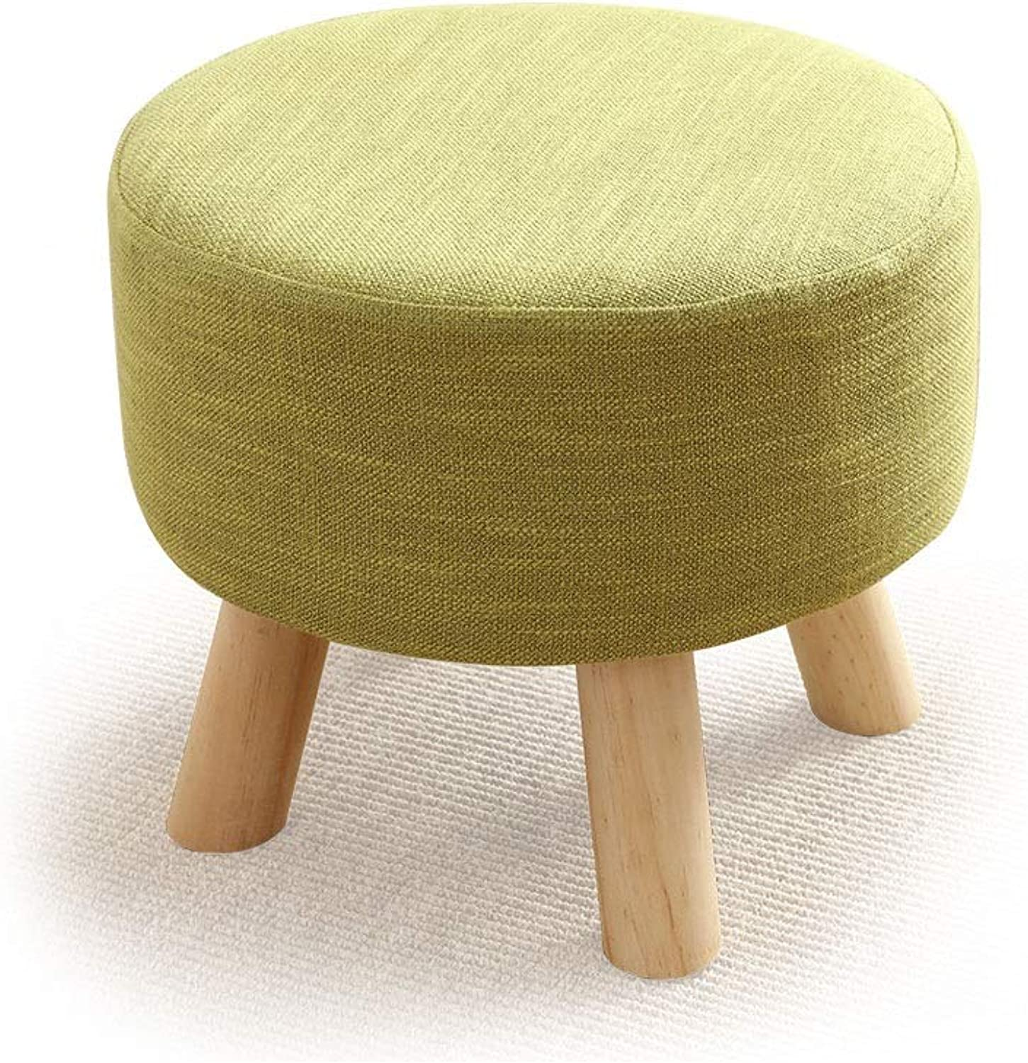 Foot Stools Pouffe Footstool Upholstered Footrest Linen Fabric Cover Seat Change shoes Bench Chair Round Wooden Stool (color   Green)