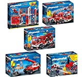 This bundle includes (1) PLAYMOBIL Fire Station Playset, (1) PLAYMOBIL Fire Ladder Unit Playset, (1) PLAYMOBIL Fire Engine Playset, (1) PLAYMOBIL Fire Crane Playset, and (1) PLAYMOBIL 40 pc. Firefighters with Water Pump Playset The station comes with...