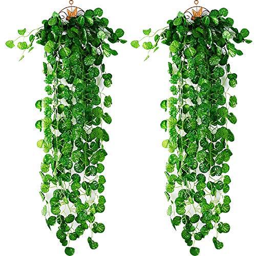 xhsp 88,9cm Künstliche Grün Ivy Vine Kartoffel Blätter Garland Pflanzen Vine Fake Blattwerk Home Decor, 4/6/8/10/20/50, plastik, Potato Leaves, 89 cm (35 Zoll)
