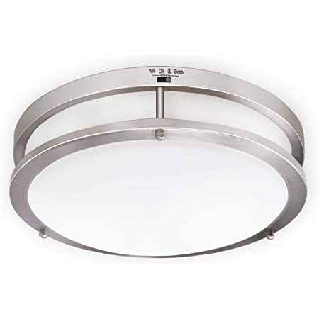 Amazon Com Ostwin 14 Inch Led Flush Mount Ceiling Light Dimmable Round Light Fixture Brushed Nickel Finish Plastic Shade 21 Watts 120w Eq 1470 Lm 5000k Daylight Etl Listed Home Improvement