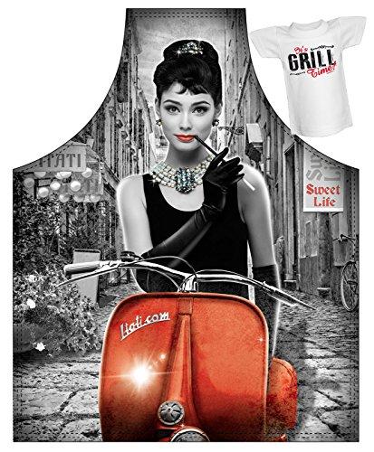 Super schertsartikel retro cadeau-idee met mini-T-shirt Sweet Life Funartikel Vintage Carnaval artikel schort BBQ-schort kookschort