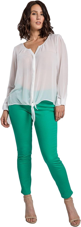 Miss Halladay Women Stretch Color Denim Skinny Ankle Jean Curved Inseam Zip Bottom