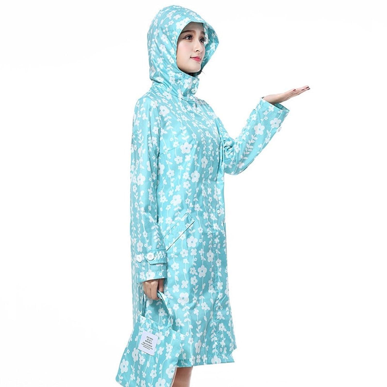 ラブリー 花 青い背景 防水 Ms. レインコート 薄くて軽い