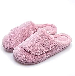 Women's Furry Memory Foam Diabetic Slippers Comfy Cozy Arthritis Edema Shoes Adjustable Open Toe/Closed-Toe, Non-Slip