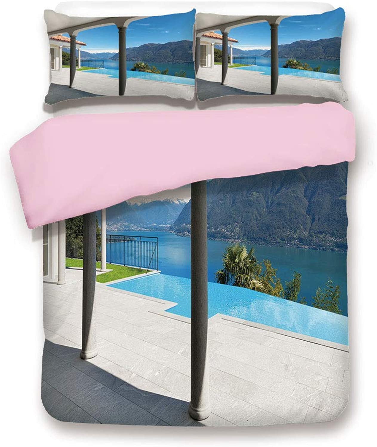 Pink Duvet Cover Set,King Size,Lake Maggiore View from The Terrace Balcony of House with Pool,Decorative 3 Piece Bedding Set with 2 Pillow Sham,Best Gift for Girls Women,Turquoise Grey and White