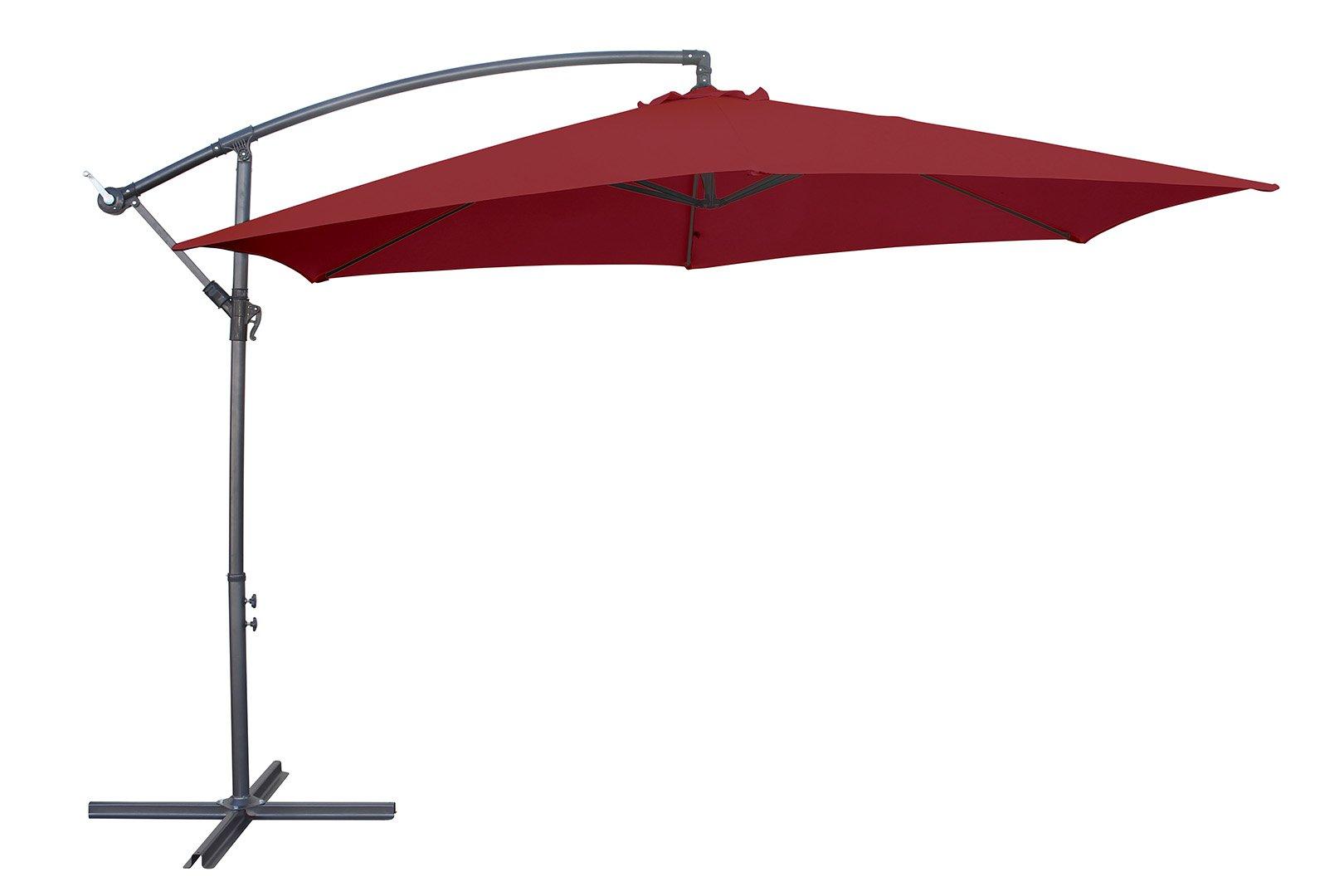 Sombrilla de aluminio de Miweba, con faldón de 350 cm de diámetro, protege de 50+UV, con funda – como sombrilla de mercado, para jardín, para la terraza..., borgoña: Amazon.es: Jardín