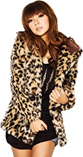Drecode Leopard Faux Fur Coat Long Sleeve Fur Mink Parka Jacket Outcoat for Women and Girls