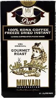 Mulvadi 100% Kona Coffee Freeze Dried Instant 1.7g (Pack of 12) 멀바디 스틱 커피