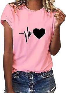 Voqeen Camiseta de Manga Corta tee para Mujer ECG Corazón Estampado Casual Adolescentes Niñas Camiseta Pullover Blusa De V...