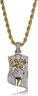 TOPGRILLZ Men 14K Gold Plated Iced Out CZ Simulated Diamond Crown Jesus Piece Pendant Necklace
