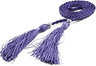 Women's Fashion Bowknot Thin Braided Belt for Dress with Tassel (Multicolor)