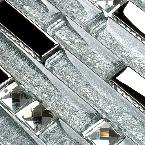 Hominter 11-Sheets Silver Coated Glass Tile Rhinestone Mosaic, Clear Crystal Backsplash Wall Tiles, Random Interlocking Patterns for Bathroom and Kitchen YG001