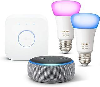 Echo Dot (3.ª generación), Tela de color gris oscuro + Philips Hue Bombilla Inteligente Starter Kit (2x E27), compatible con Alexa