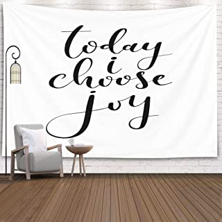 Douecish Joy Tapestry, Decoration Word Brush Pen Phrase Today Choose Joy for Bedroom Living Room Decor Wall Hanging Tapestry 60X50 Inches,White Black
