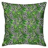 Hoja de plátano Funda de almohada cuadrada para niños Palmera de coco sobre fondo abstracto moderno Diseño de selva tropical Negro Blanco Fundas de cojín Verde cazador Fundas de almohada para sofá Dor
