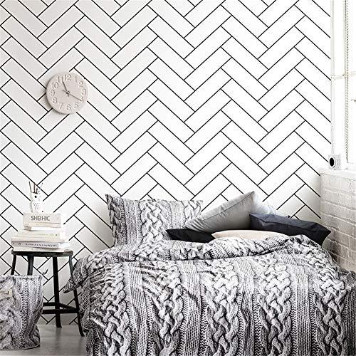 Tapeten-Tapeten der geometrischen Weinlese 3d modernes hölzernes Vinyltapetenwandpapier für wasserdichte Papierrolle der Schlafzimmerwand Zickzack, weiß