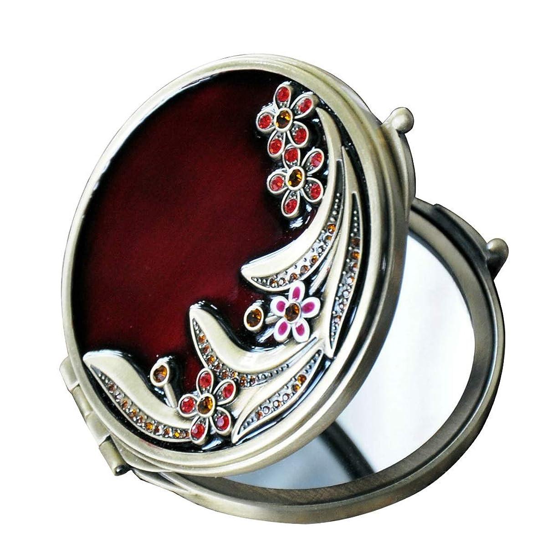 抗議アクティビティ鼻ポータブル化粧鏡手描きデザイン180度使用両面ステンレススチールメタルHDキャリー 美容鏡