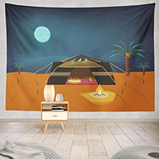 Pakaku Moroccan Tapestry, Decorative Tapestry Tent Night Time Cultural Food and Coffee Wall Hanging Tapestry 60 L x 60 W for Bedroom Living Kids Girls Boys Room, Tent Night Time