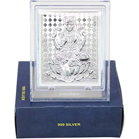GoldGiftIdeas Silver Lakshmi Maa Photo Frame for Gifting, Silver Laxmi Devi Frame for Pooja, Silver Gift Items for Home, Return Gifts for Pooja