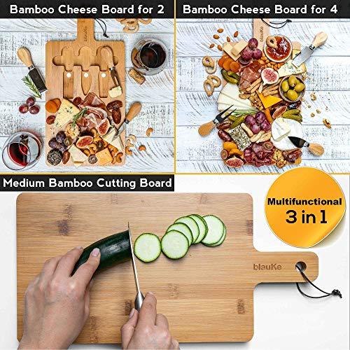 Käsebrett aus Bambus mit Käsemesser-Set - Multifunktionale Käsebrett aus Holz mit Besteck und Schneidebrett in Einem – Medium Bambus Schneidbrett – Käseplatte aus Holz mit 3 Käsemessern - BlauKe