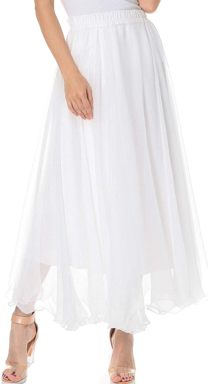 TEERFU Womens Full/Ankle Length Elastic Waist Pleated Beach Maxi Chiffon Summer Long Skirt Big Hem Double Layer