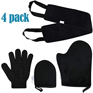 Self Tanning Mitt Applicator Kit, Back Applicator Tan Mitt Band, Exfoliating Glove, Face Mitt for Sunless Tanner and Lotion, Set of 4 Pack (A4-1)