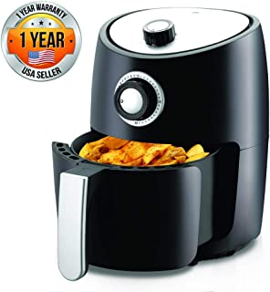 Nutrichef Air Fryer Oven 2 Quart - 1000w Power Oilless Dry Fryer Machine Large Capacity Family Size Air Fryer with Basket - Removable Deep Non-Stick Teflon Fry Basket, Roasting Plate PKAIRFR18