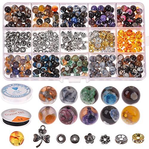 Queta Lot de 338 perles rondes en pierre - 8 mm - Perles Chakra - Perles d'agate avec boîte d'accessoires et 2 brins pour la fabrication de bijoux - Pour l'artisanat