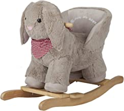 ROCK MY BABY Baby Rocking Horse with Chair,Plush Stuffed Bunny Rocking Animals, Bunny Rabbit Ride on Baby Rocker for Toddlers Girls and Boys Age 1 Year and up (Gray Bunny for 12M+)