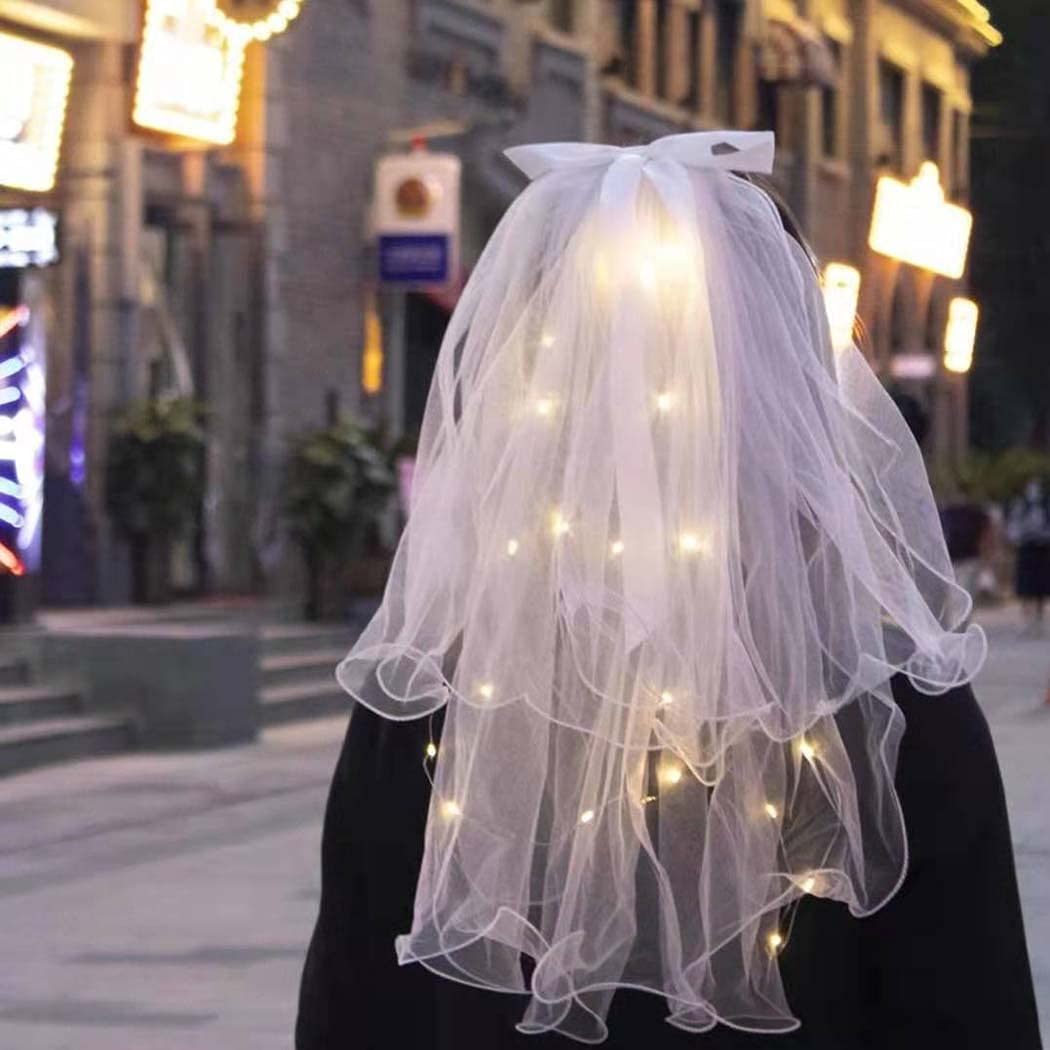 Evild LED 2 Tier Veil White with Hair Clip Pencile Edge Bride Veils Elbow Length Light up Wedding Veil Glowing Party Club Nightout Headpieces for Women and Girls(23.6in)