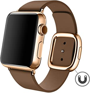 Deyou Apple Watch バンド 牛革の材質 シンプルでモダン,対応しますApple Watch Series 4/3/2/1(ブラウン 、ローズゴールドバックル-38mm/40mm)