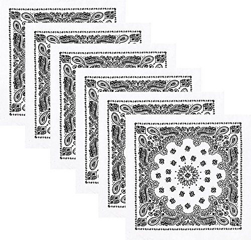 Boolavard Bandana Kopftuch Halstuch - gemustert: Paisley Muster - 100% Baumwolle Bindetuch 1 er 6 er oder 12 er Pack!! (6 x Weiß)