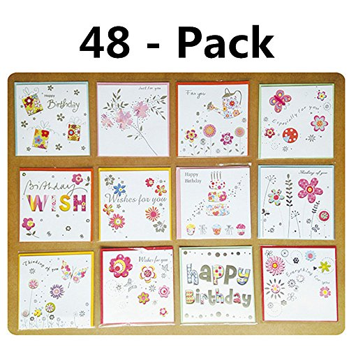 Christmas Assorted Flower Greeting Cards Boxed Set FUNJIA 48 Pack of birthday Holiday Family Cards
