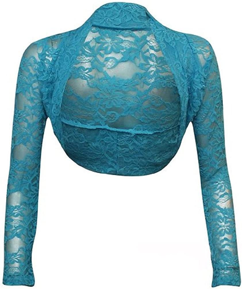 SugerDiva Women Ladies Long Sleeve Lace Shrug Bolero (M/L, Turquoise)