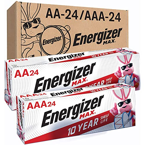 Energizer MAX AA Batteries & AAA Batteries Combo Pack, 24 Double AA Batteries and 24 Triple AAA Batteries, Amazon Exclusive (48 Count)