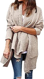 Womens Open Front Long Sleeves Solid Color Knit Cardigan Sweater Blouses with Pockets