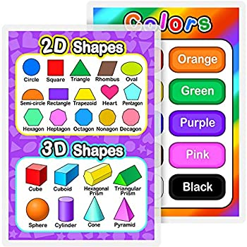 Outus Fully Laminated Preschool Educational Posters for Kids and Toddlers Nursery Homeschool Pre-K Kindergarten  2 Pieces Colors and Shapes