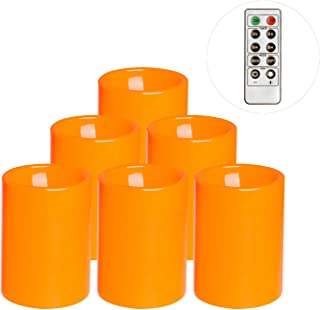 Flameless Flickering Plastic Led Candle, 6-Pack Battery Operated Pumpkin Color Remote Candle With Timer ,Fall, Autumn, Halloween Outdoor Decorations, 3x4 inch