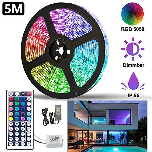 Hengda LED Strip 5M LED Streifen Band LED Leiste mit Fernbedienung IP65 Wasserdicht LED Lichtleiste RGB 5050 Farbwechsel Selbstklebend Lichterkette Kit