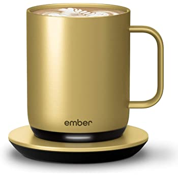 NEW Ember Temperature Control Smart Mug 2, 10 oz, Gold, 1.5-hr Battery Life - App Controlled Heated Coffee Mug - New & Improved Design