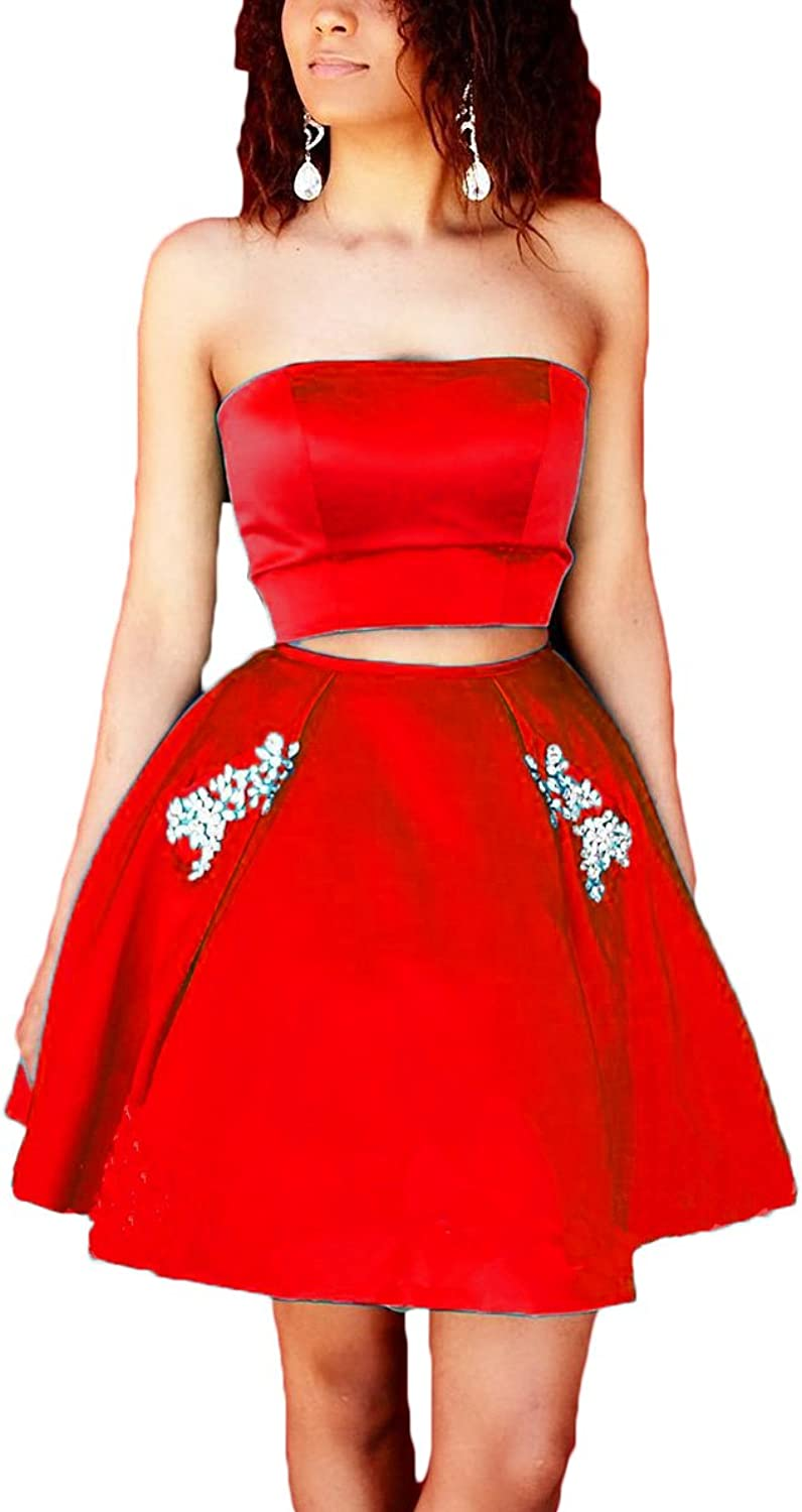 Alilith Z Sexy Strapless 2 Piece Short Homecoming Prom Dresses Crystal Beaded Formal