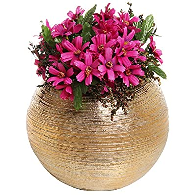 6.75 Inch Round Modern Metallic Ceramic Plant Flower Planter Pot, Decorative Bowl Vase