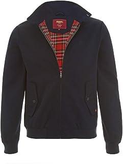 merc Mens London Classic Retro MOD Check Tartan Lined Harrington Jacket - Navy Blue