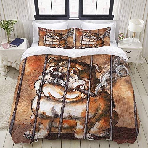 Funda nórdica, enorme bulldog inglés fumando un cigarro en una jaula detrás de un letrero que dice arte sorpresa, acuarela, juego de cama Juegos de fundas de edredón de poliéster de lujo ultra cómodas