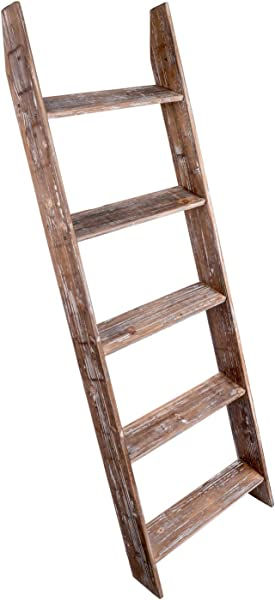 Simply Superlative Rustic Wood Wall Leaning Blanket Ladder Decorative Ladder Leaning Shelf Blanket Rack 4 5 Foot Storage Ladder