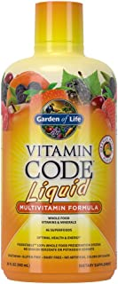 Garden of Life Multivitamin - Vitamin Code Liquid Raw Whole Food Vitamin Supplement, Vegetarian, No Preservatives, Orange ...