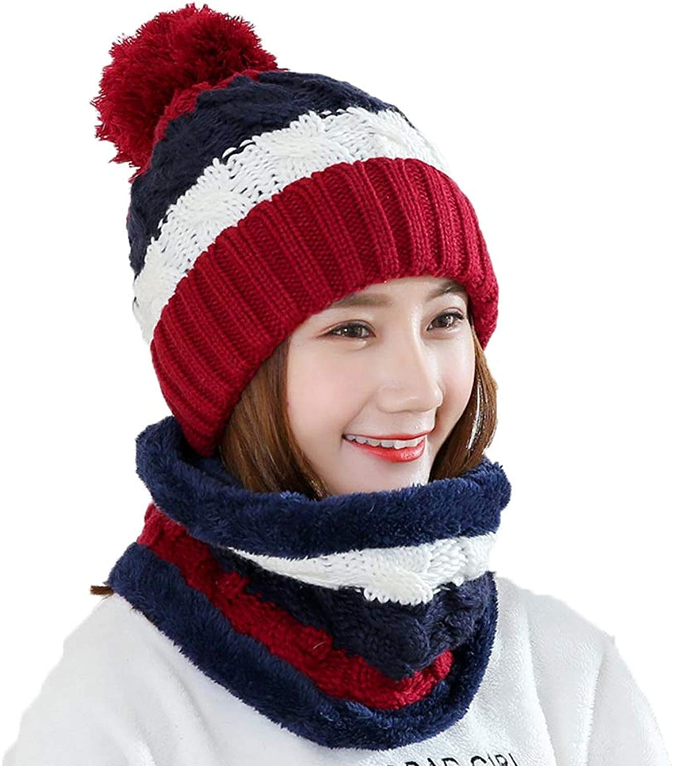 Hat, Female Winter, Warm and Casual Ear Predectors Beanie Hat Cute Knitted Hat (hat + Circle Scarf) (color   RED)