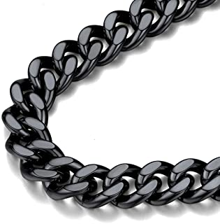 FindChic Rapper Chain, Chunky Black Chain Necklace for Men Cuban Curb Link Chain Necklaces Thick 12MM Chains for Boys 22''
